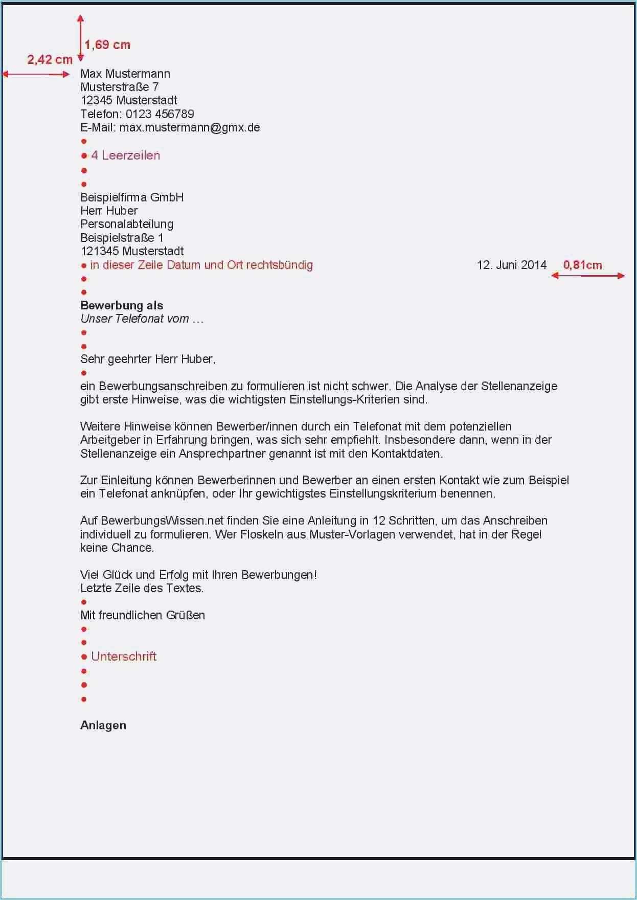 Frisch Din 5008 Bewerbung Vorlage Word Briefprobe Briefformat