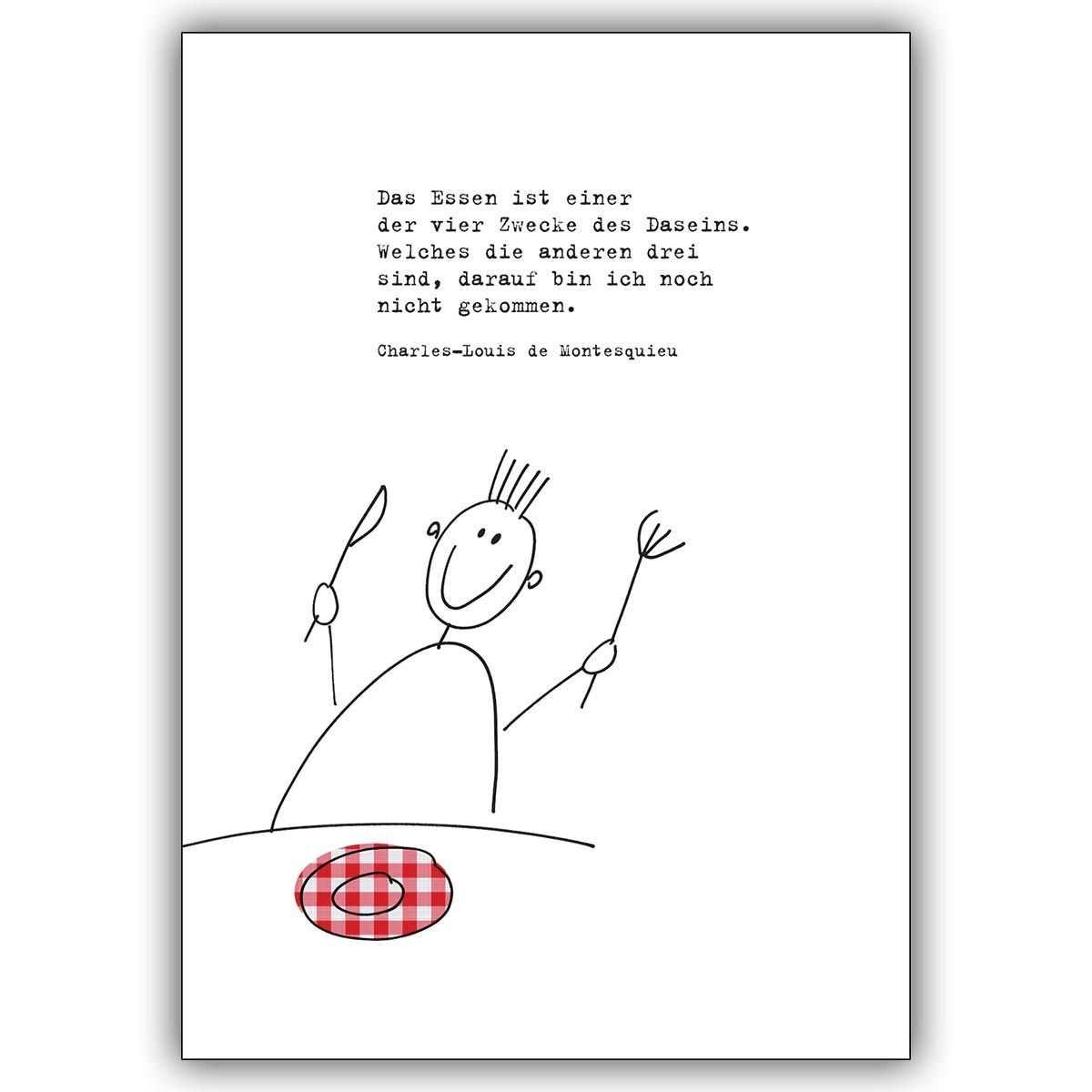 Moderne Einladungskarte Zum Essen Mit Passendem Montesquieu Zitat