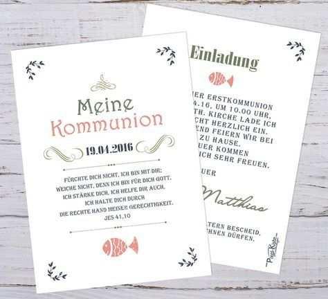 Einladungen Erstkommunion Vintage Einladung Kommunion