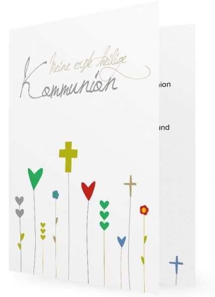 Kommunion Einladung Vorlage Kreuze Als Blumen Kommunion