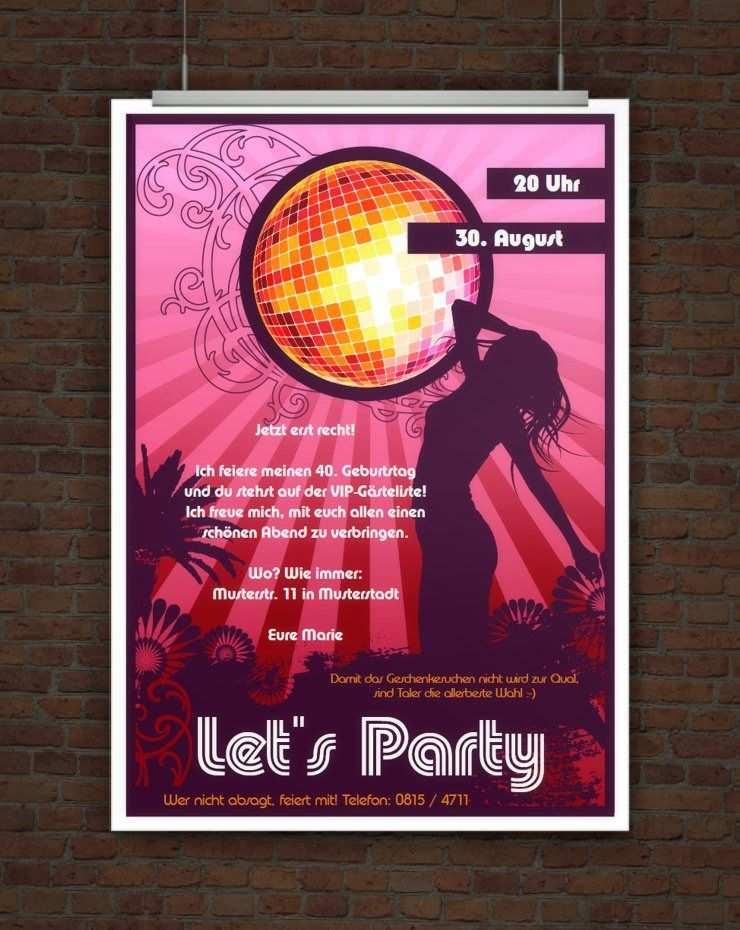 Let S Party Partyeinladung Mit Discokugel Zum Ausdrucken Party