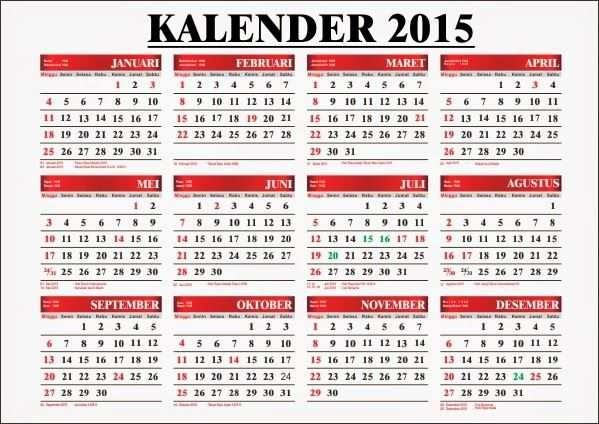 Download Template Kalender 2015 Yuuk Kalender Bahasa