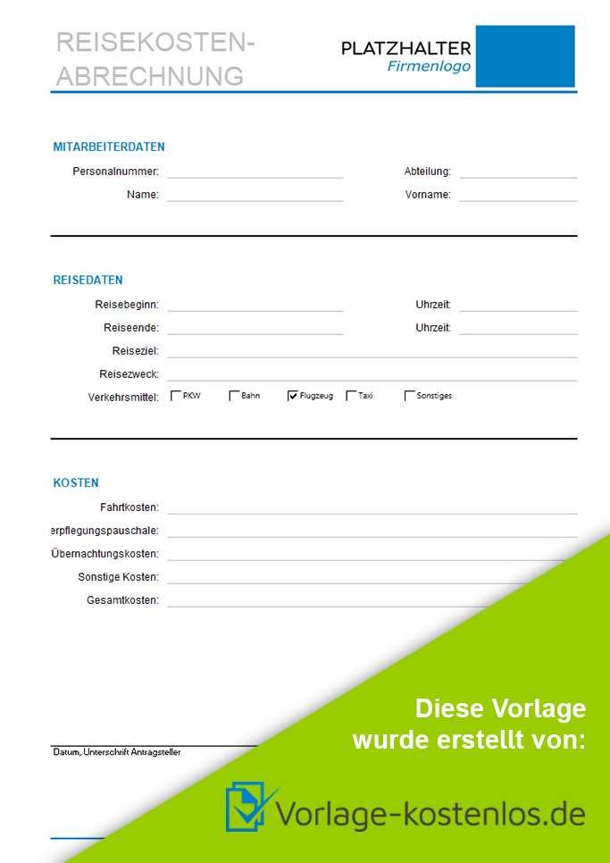 Reisekostenabrechnung Muster Kostenlose Vorlage Zum Download