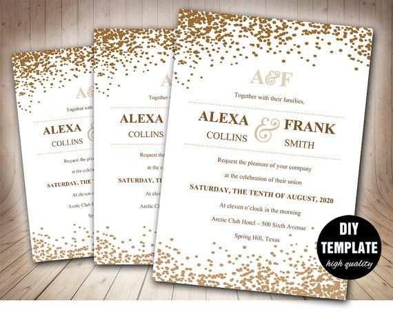 Stilvolle Hochzeit Einladung Vorlage In Gold Druckbare