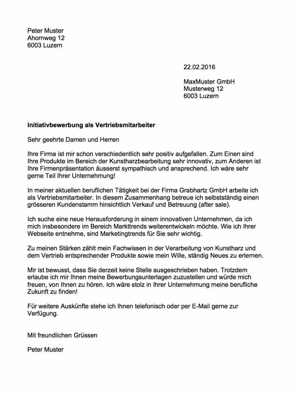 Initiativbewerbung Muster Vorlage Schweiz Vorlage