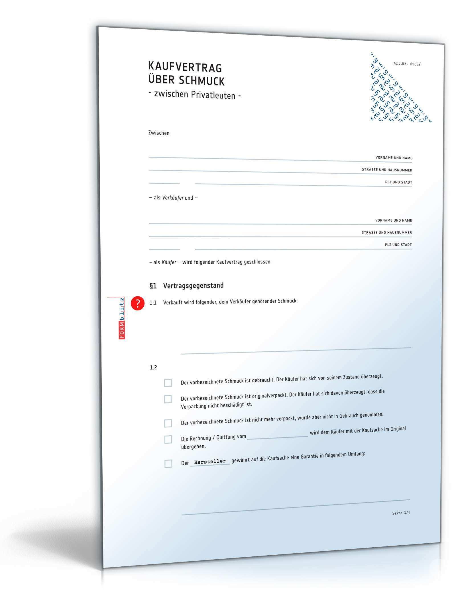 Kaufvertrag Schmuck Muster Zum Download