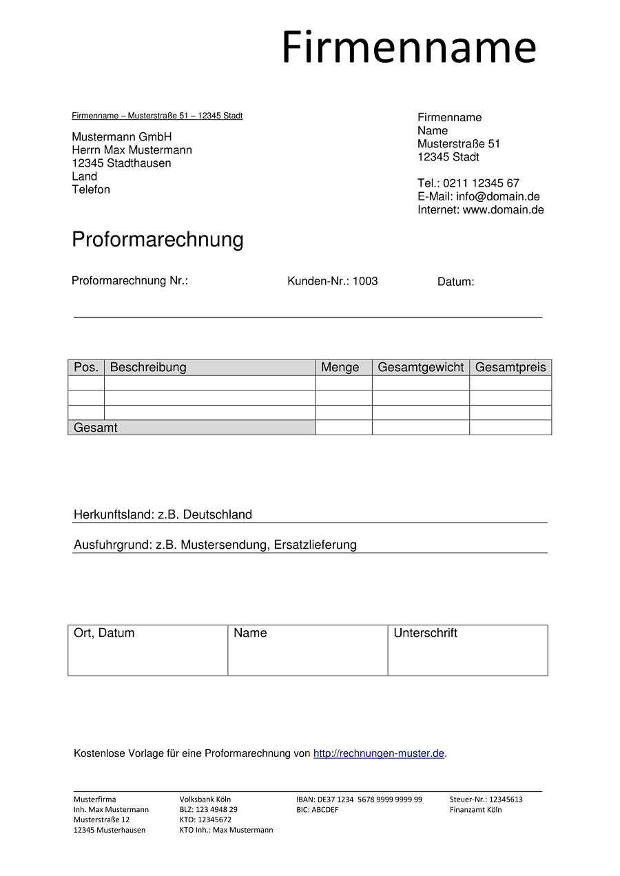 Proforma Rechnung Vorlagen Muster Proformarechnung