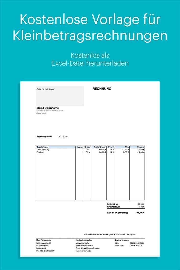 Kleinbetragsrechnung Kostenlose Vorlage In Excel Rechnung