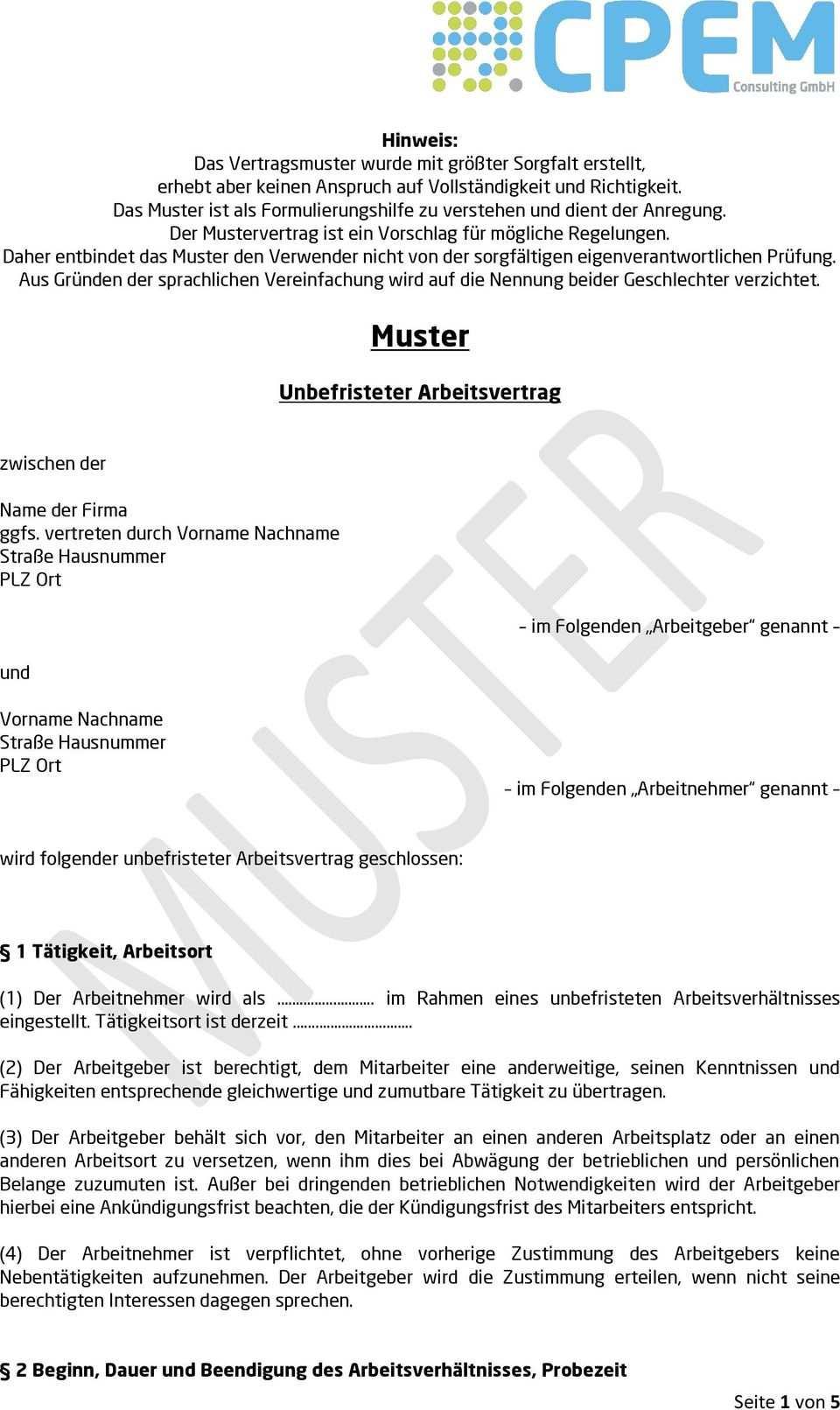 Muster Unbefristeter Arbeitsvertrag Vorname Nachname Strasse