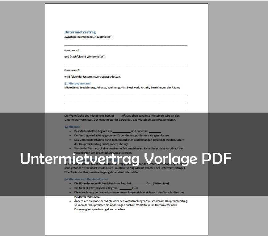 Untermietvertrag Muster Vorlage Pdf Download