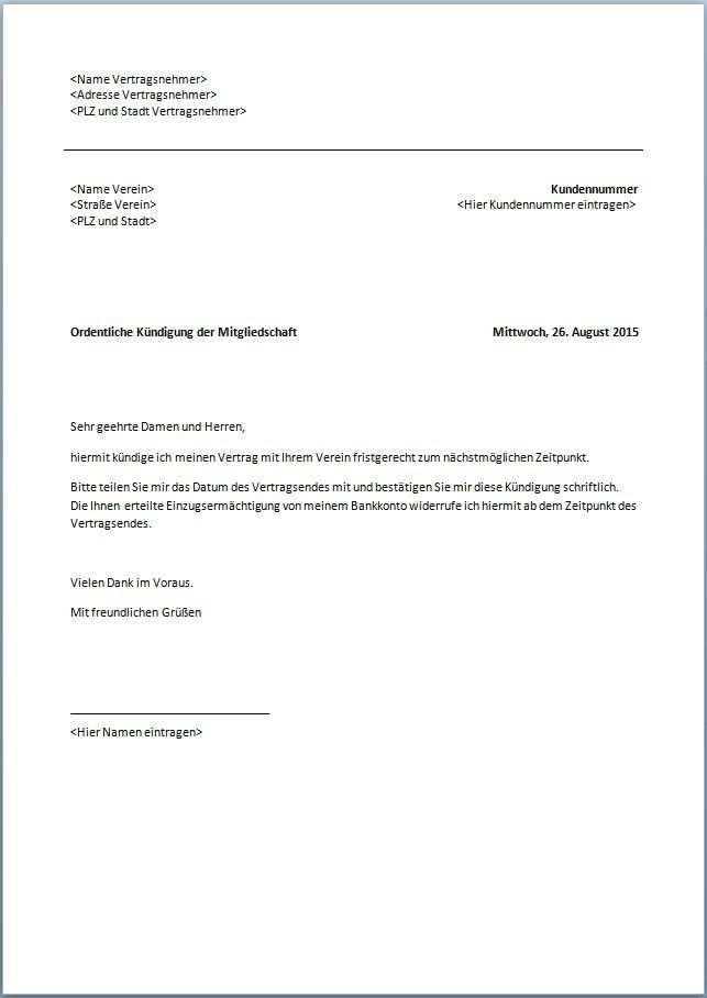 Kundigungen Vorlagen Vorlagen Word Kundigung Vertrag