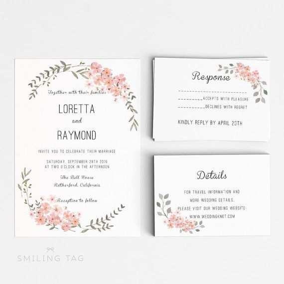 Sofort Download Druckbare Hochzeit Einladung Vorlage Romantische