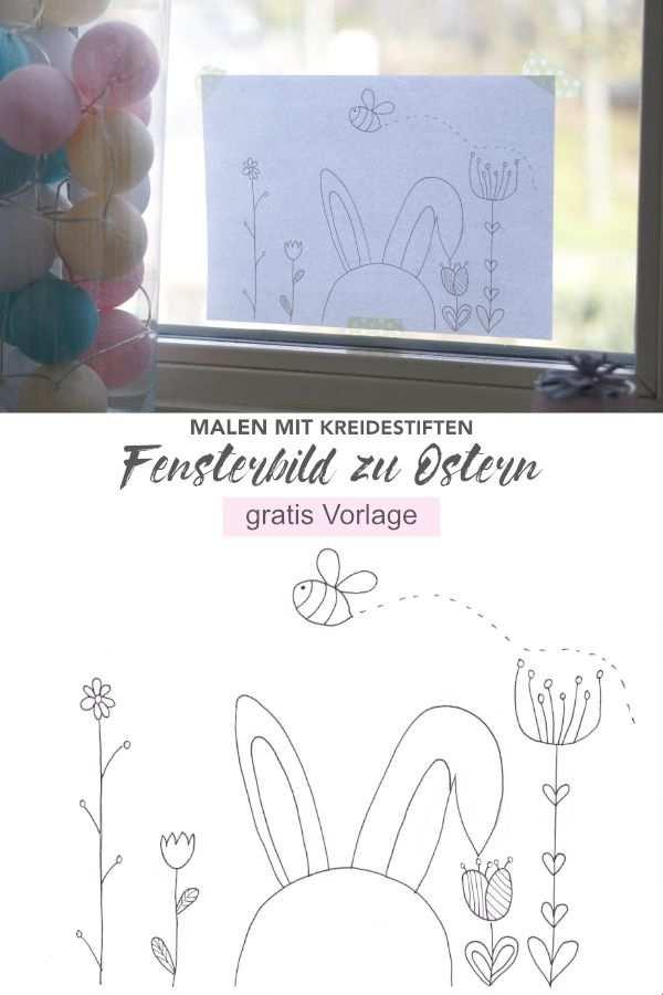Susses Fensterbild Zu Ostern Mit Kreidestiften Malen Mit