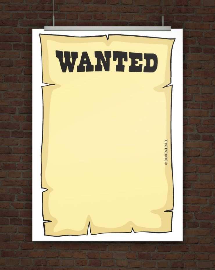 Kostenlose Vorlage Wanted Plakat Kostenlose Vorlagen Geburtstag