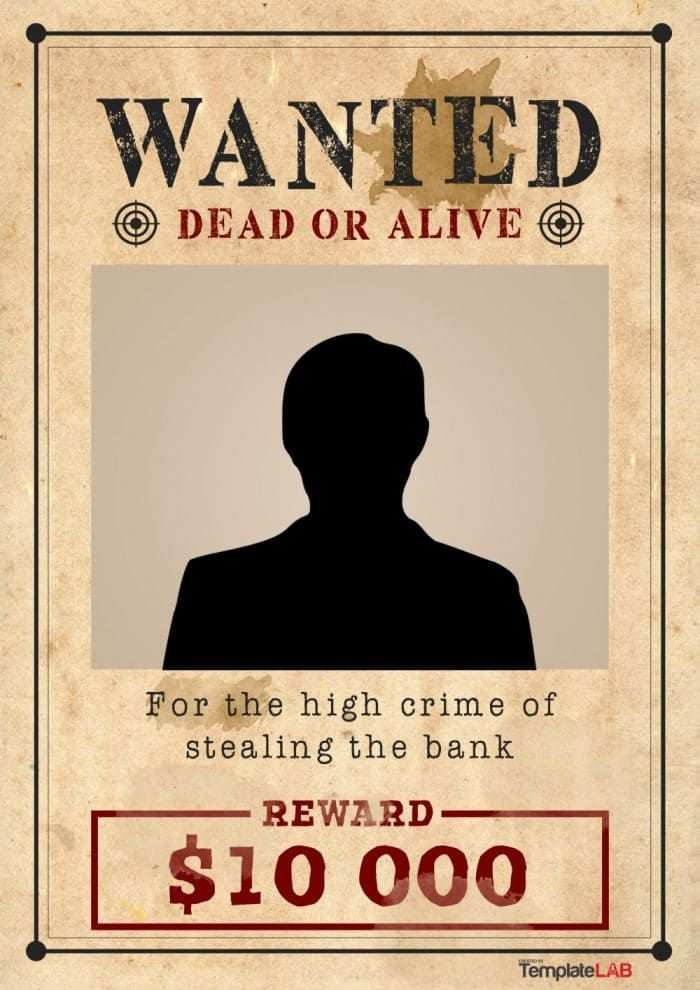 29 Free Wanted Poster Templates Fbi And Old West Vorlagen