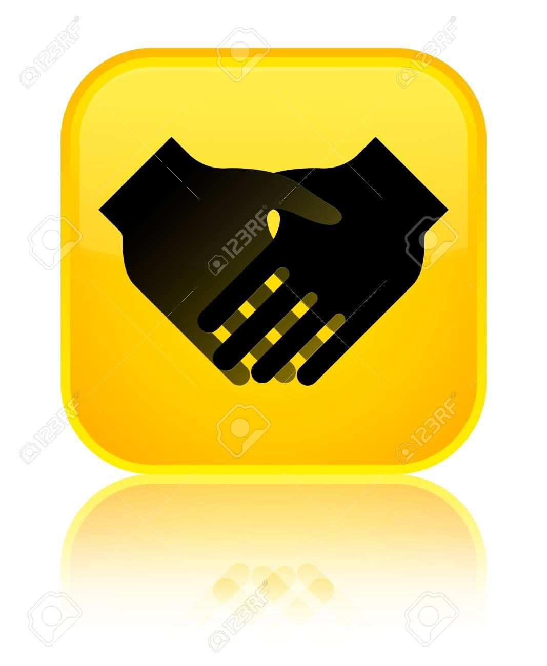 Handshake Icon Isolated On Special Yellow Square Button Reflected
