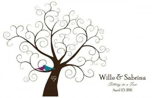 Downloadable Fingerprint Tree Guestbook Baum Vorlage