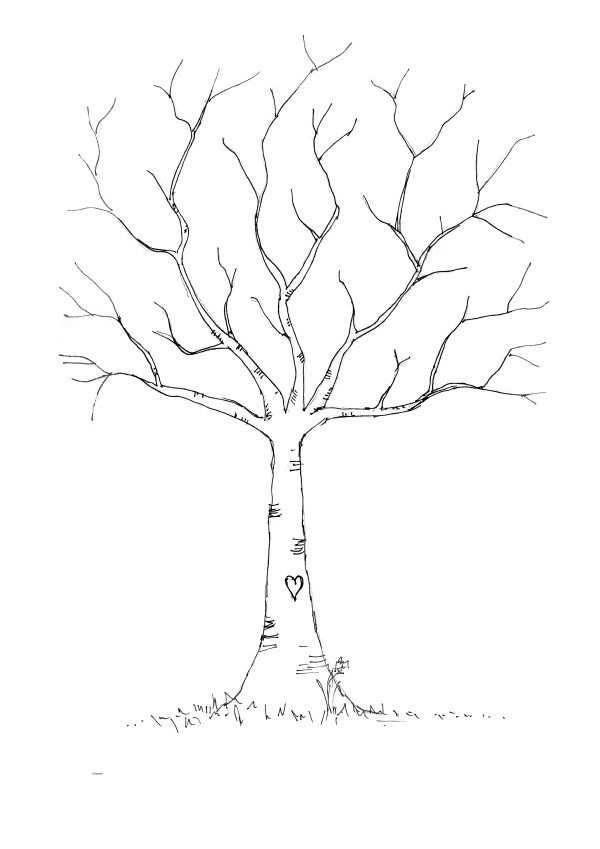 Diy Fingerprint Tree Template Baum Vorlage Gastebuch Baum