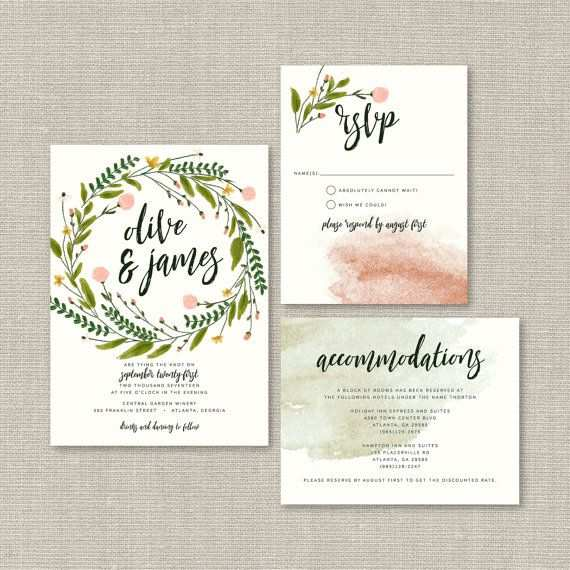 Rustic Wedding Invitation Suite Deposit Diy Di Splashofsilver