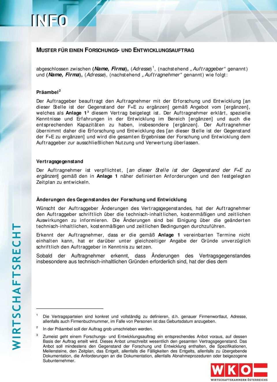 Muster Fur Einen Forschungs Und Entwicklungsauftrag Pdf