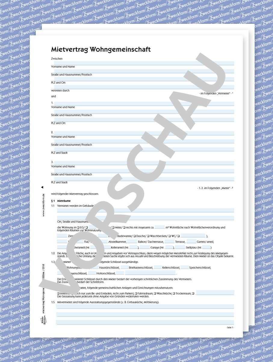 Mietvertrag Wohngemeinschaft Wg Formular Download Zweckform