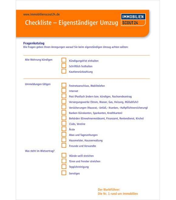 Checkliste Eigenstandiger Umzug Umzug Checkliste Umzug Tipps