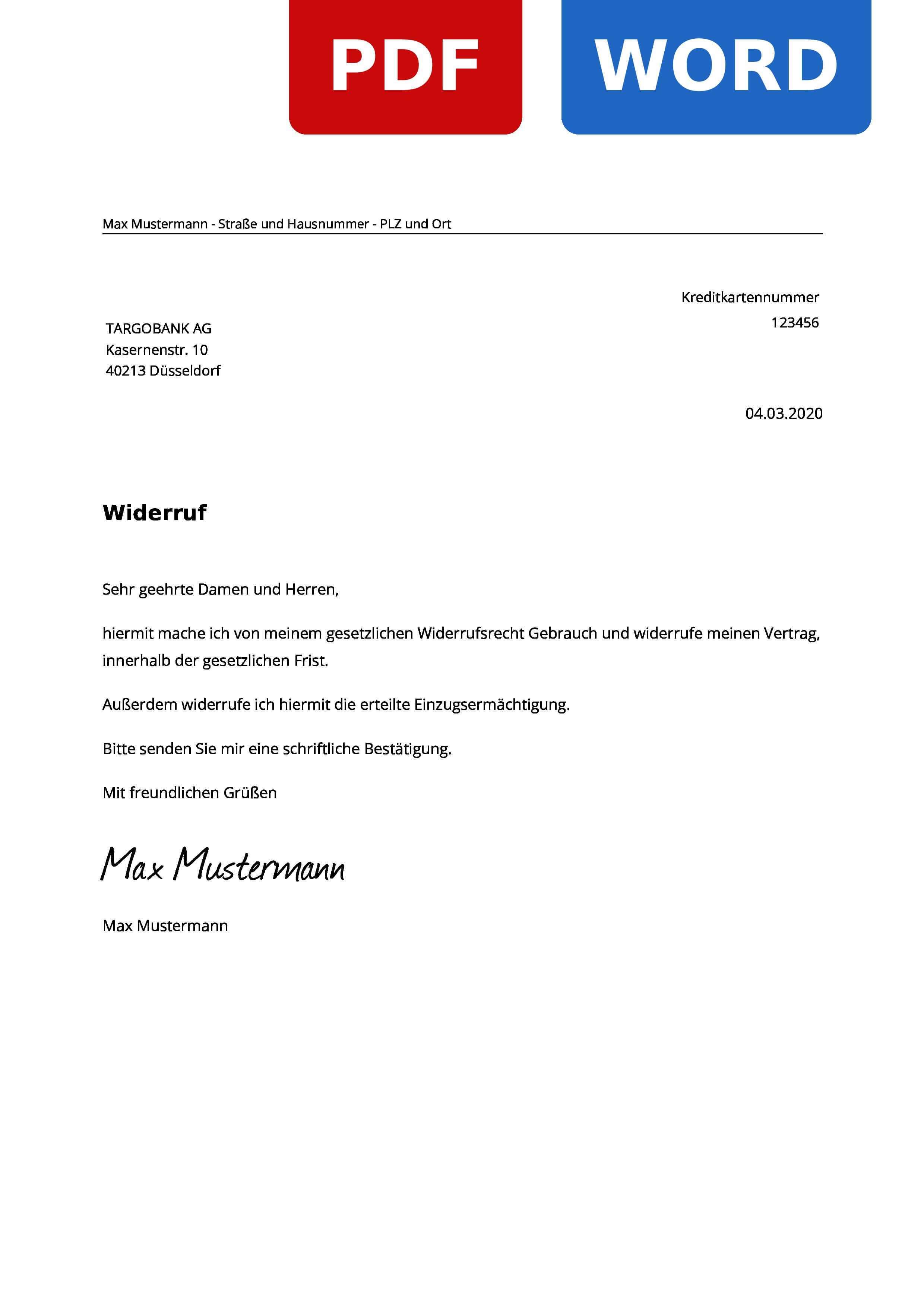 Targobank Kredit Widerruf Widerrufsrecht Widerrufsfrist