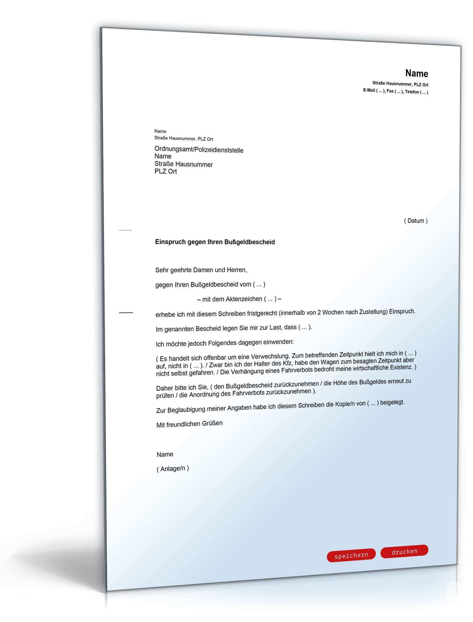 Einspruch Bussgeldbescheid Rechtssicheres Muster Zum Download