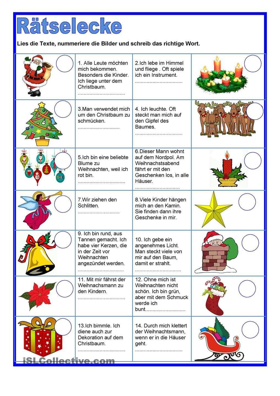 Ratselecke Weihnachten Vorschule Weihnachten Deutsche