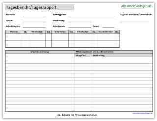 Tagesbericht Oder Tagesrapport Kostenlose Vorlagen Vorlagen