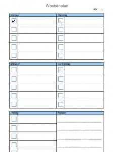 Wochenplan Vorlage In Word Und Excel Wochenplan Vorlage Wochen
