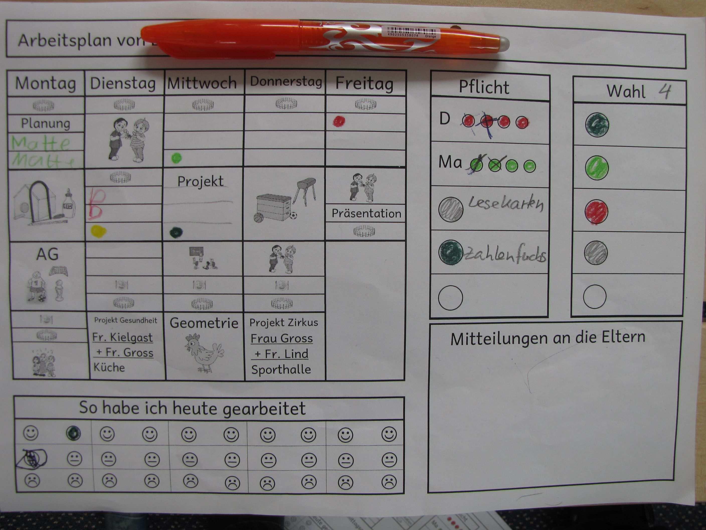 Wochenplan Arbeitsplaner Wochen Planer Erste Klasse