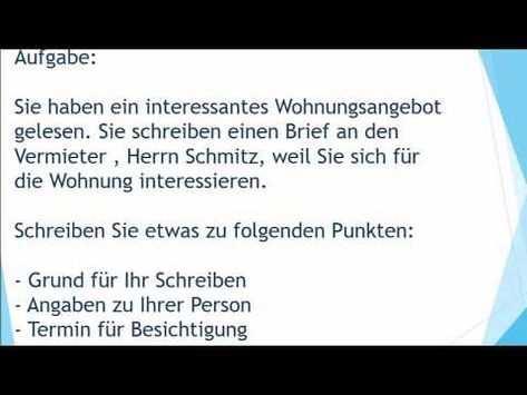 Neue Wohnung Mieten Brief Schreiben Zur Prufung B1 German