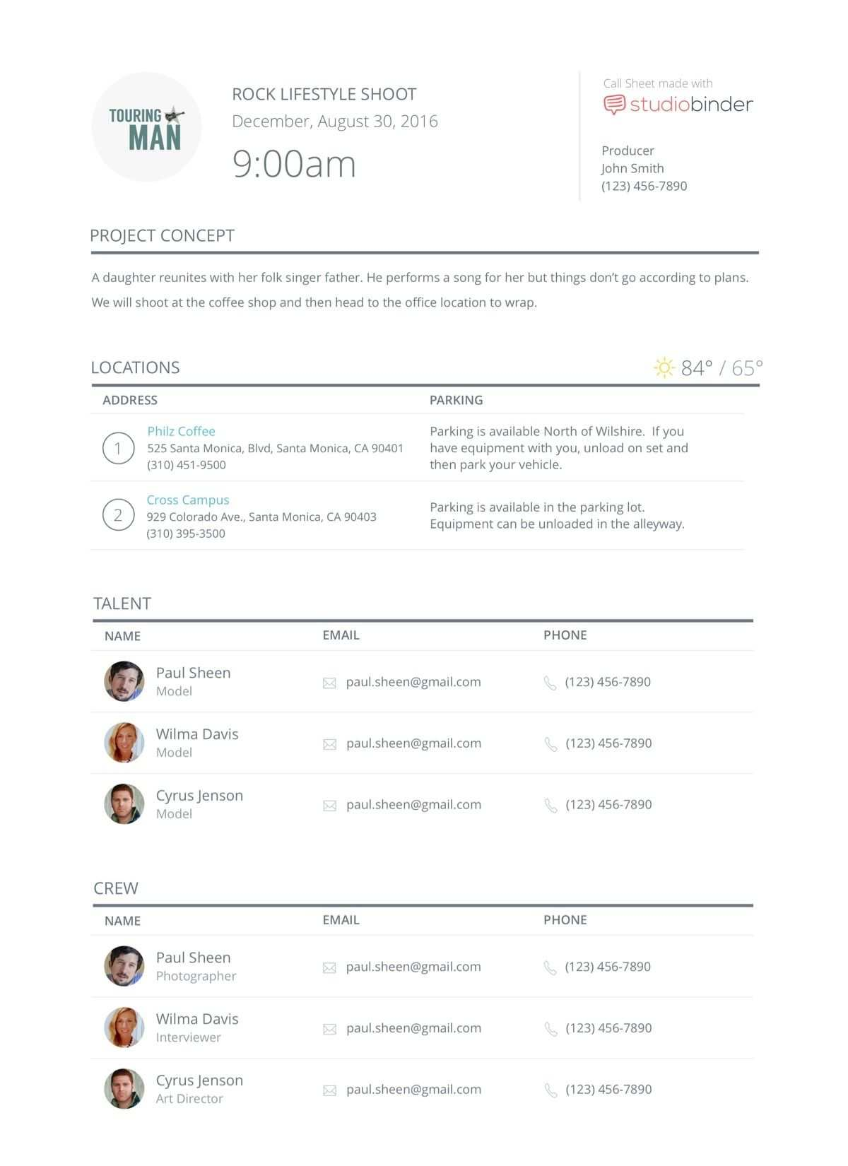Online Call Sheet Templates For Film Tv Production Label