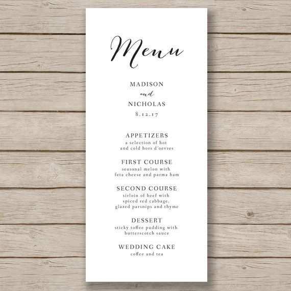 Wedding Menu Template Rustic Wedding Menu Printable Menu