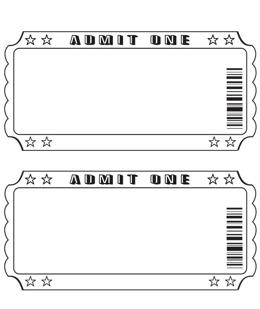 Blank Ticket Printable Tickets Ticket Template Printable