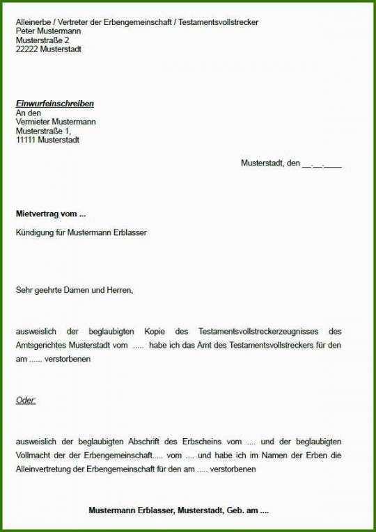 Inderregelherausragend Kundigung Mietvertrag Vorlage Mieterbund In