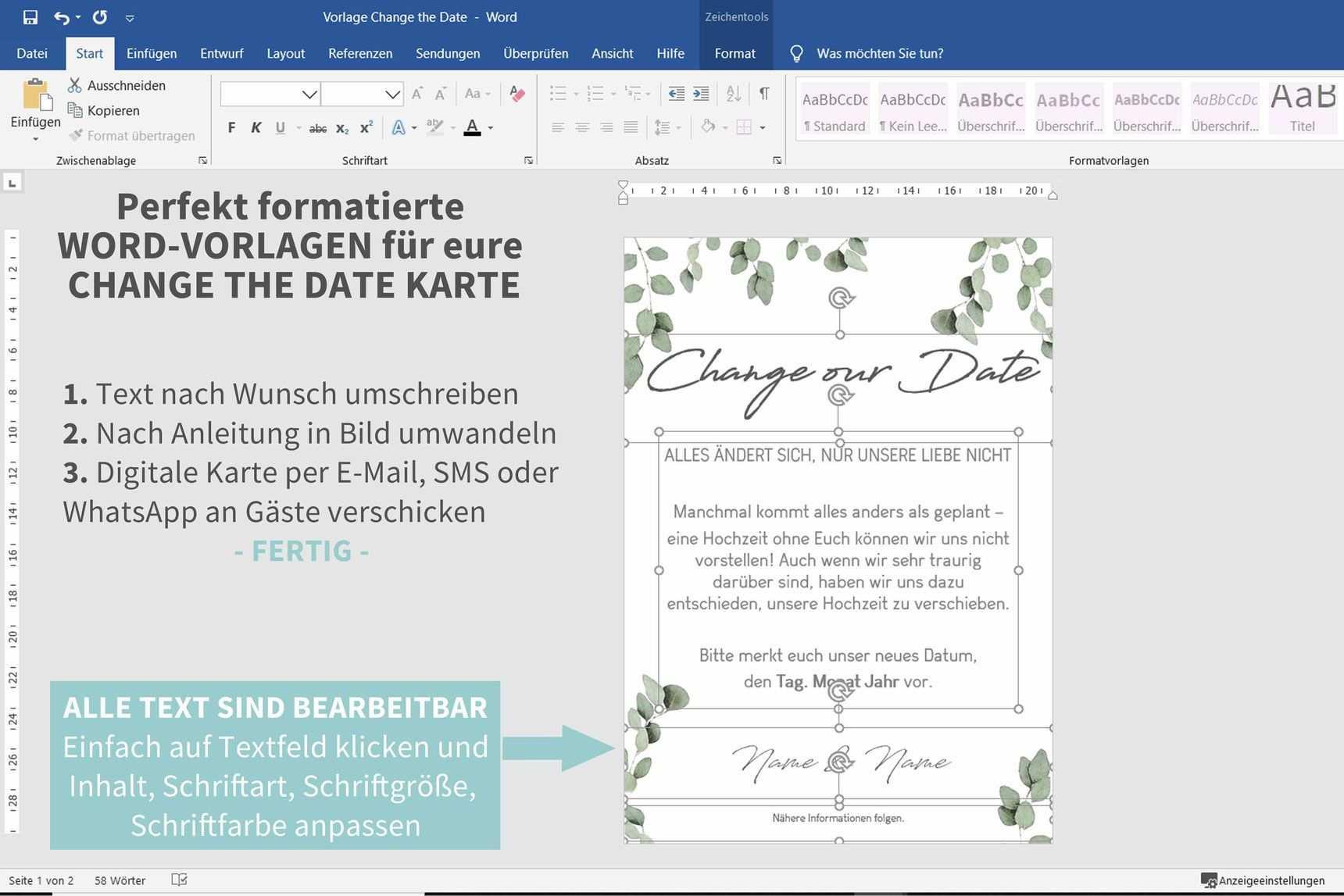 Pin Auf Hochzeit Verschieben Change The Date Dank Corona