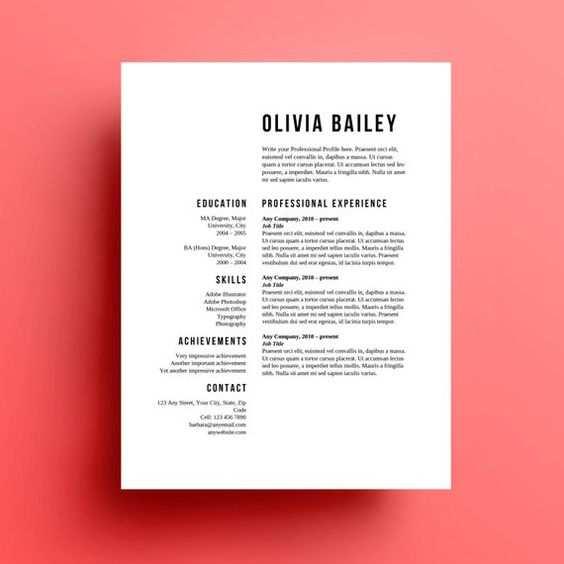 Die Olivia Lebenslauf Vorlage Und Anschreiben Steht Zum Sofortigen