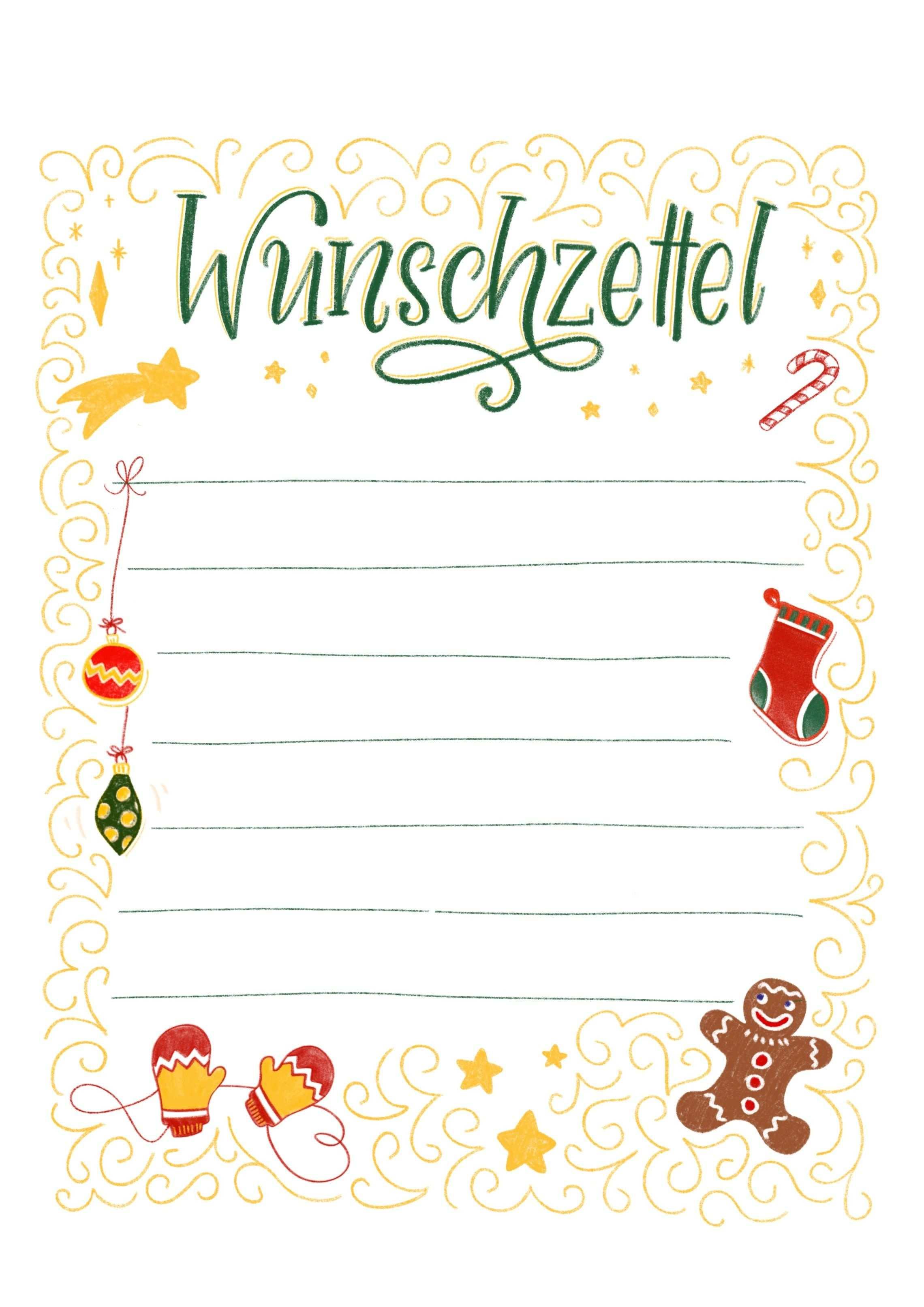 Wunschzettel Vorlage Zum Ausdrucken Weihnachtskarte Grusse