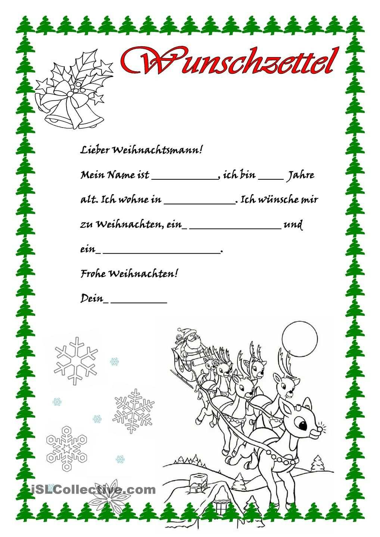 Wunschzettel Brief Vom Weihnachtsmann Vorschule Weihnachten Lernen