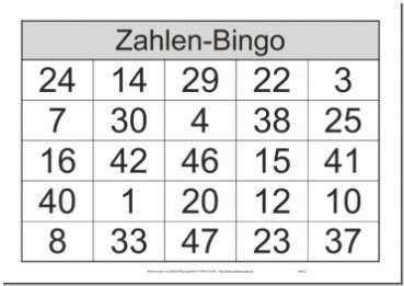 Zahlenbingo Von 1 Bis 48 Bingo Spiele Fur Senioren Bingo Vorlage