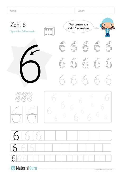 Zahl 6 Schreiben Lernen Zahlen Lernen Vorschule Schreiben