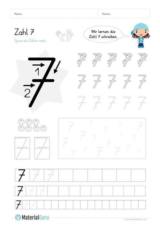 Zahl 7 Schreiben Lernen Schreiben Lernen Zahlen Schreiben