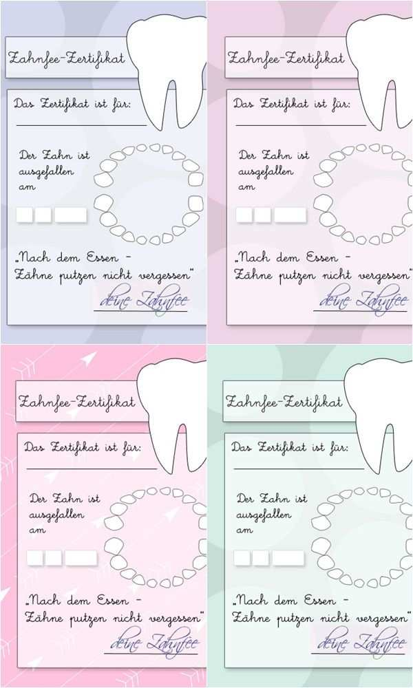 Zahnfeezertifikat Zum Ausdrucken Zahnfee Zertifikat Zahnfee
