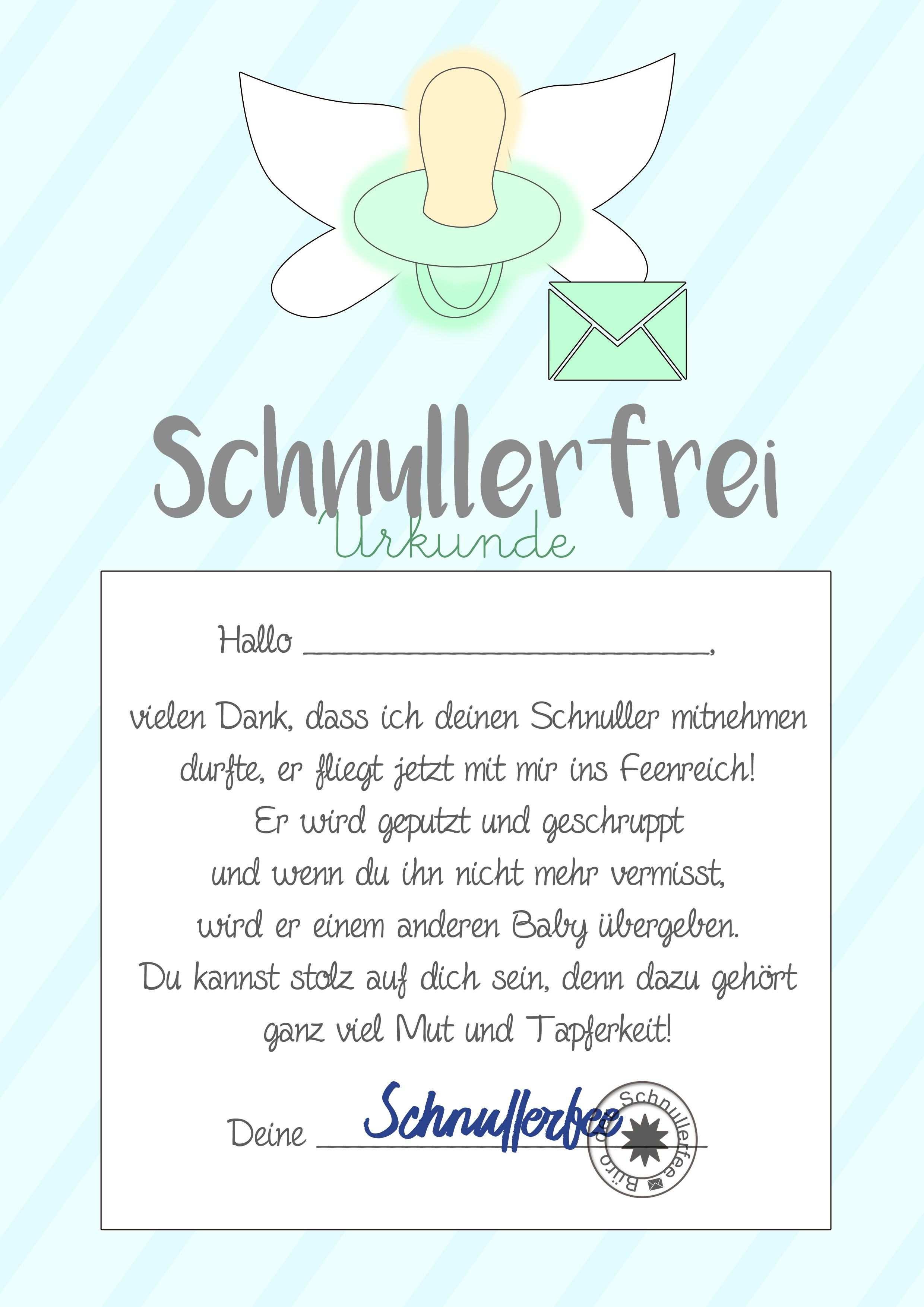 Schnullerfee Brief Vorlage Zum Ausdrucken Schnullerfee