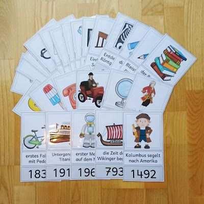 Karten Fur Eine Zeitleiste Grundschule Zeitleiste