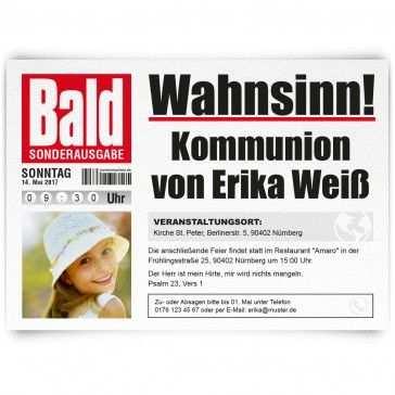 Kommunionskarten Einladung Als Zeitung Bald Baldzeitung