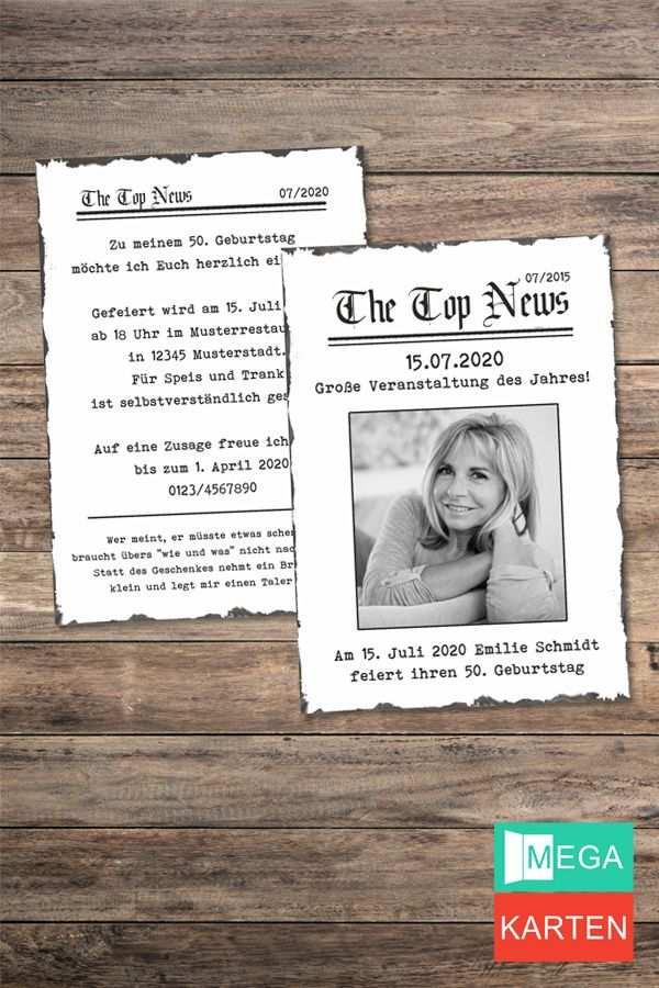Vintage Zeitung News Einladung 50 Geburtstag