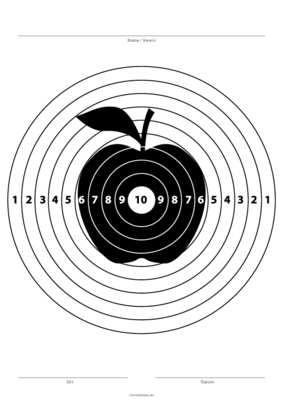 Zielscheibe Mit Apfel Schwarz Pdf Vorlage Zum Ausdrucken